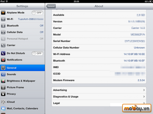 Kiểm tra pin ipad iphone bị chai no jailbreak