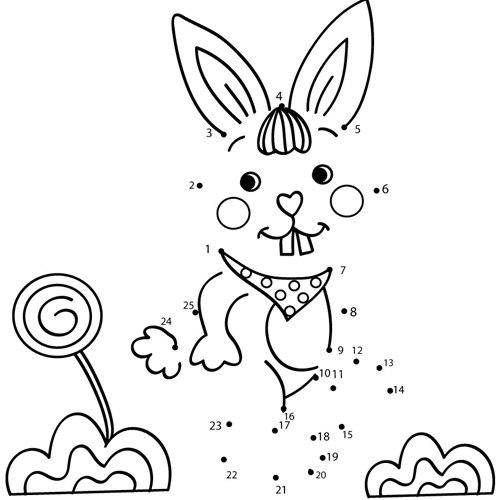 Tranh nối thỏ cười nhe răng