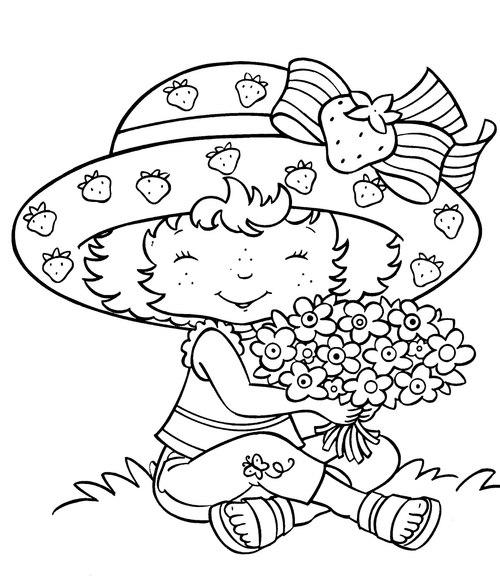 Tranh tô màu bé ôm hoa - 1