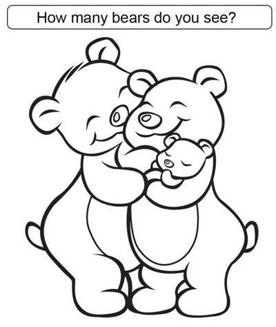 Tranh tô màu gia đình gấu - 1