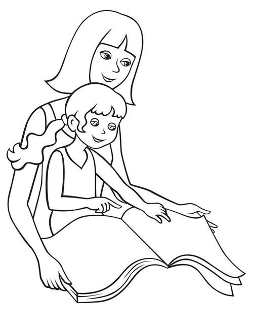 Tranh tô màu mẹ đọc sách cùng con - 1
