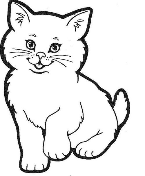 Tranh tô màu mèo con dễ thương - 1