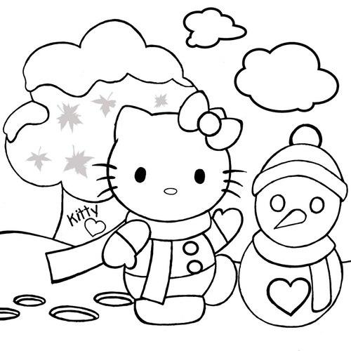 Tranh tô màu mèo kitty bên người tuyết - 1