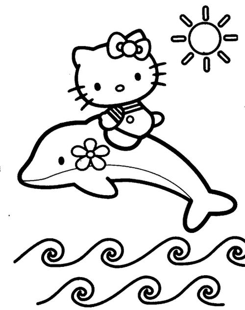 Tranh tô màu mèo kitty cưỡi cá heo - 1