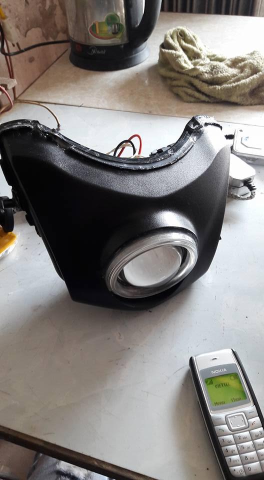 Độ đèn led gương cầu xenon cho con wave tàn - 2