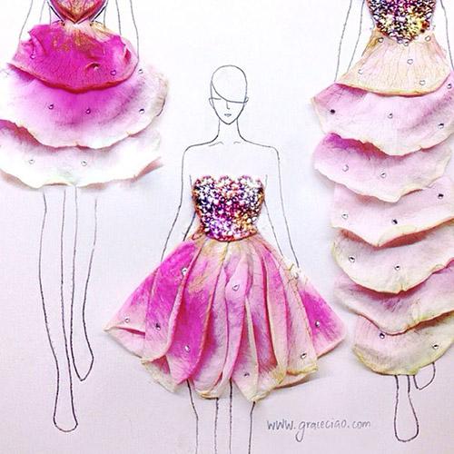 Ngẫu hứng xé cánh hoa làm váy - 1