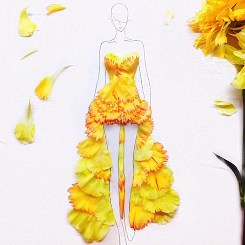 Ngẫu hứng xé cánh hoa làm váy - 3