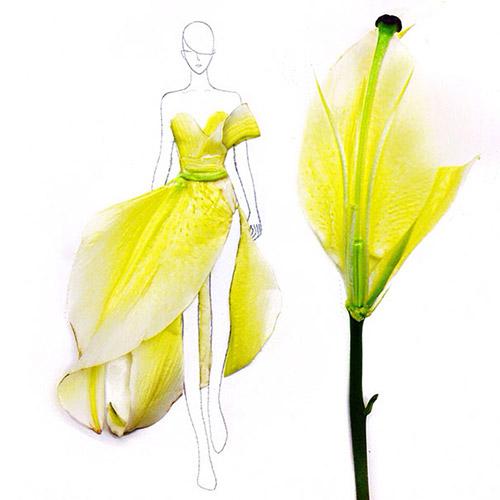 Ngẫu hứng xé cánh hoa làm váy - 4