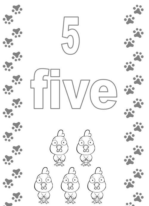 Tranh tô màu cho bé học đếm số - 5