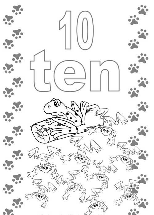 Tranh tô màu cho bé học đếm số - 10