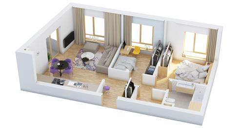 Các mẫu căn hộ nhỏ có 2 phòng ngủ - 1