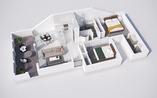 Các mẫu căn hộ nhỏ có 2 phòng ngủ - 3