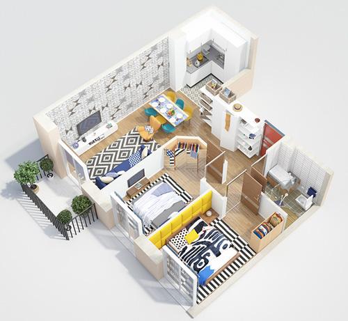 Các mẫu căn hộ nhỏ có 2 phòng ngủ - 4