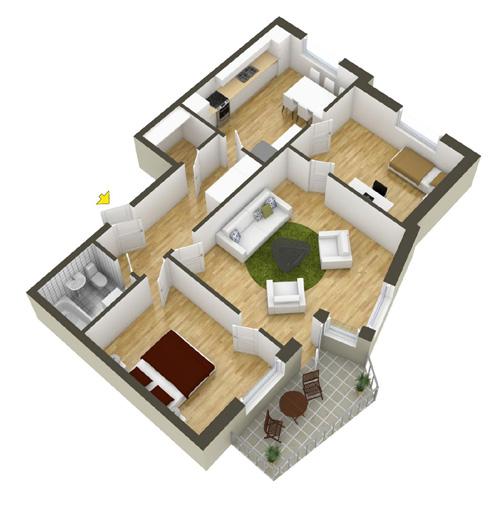 Các mẫu căn hộ nhỏ có 2 phòng ngủ - 5