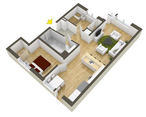 Các mẫu căn hộ nhỏ có 2 phòng ngủ - 7