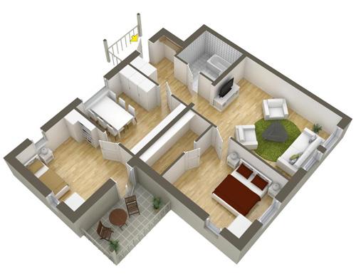 Các mẫu căn hộ nhỏ có 2 phòng ngủ - 8
