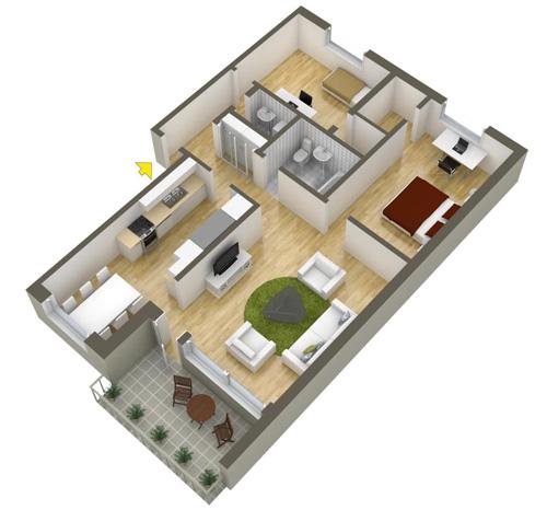 Các mẫu căn hộ nhỏ có 2 phòng ngủ - 9