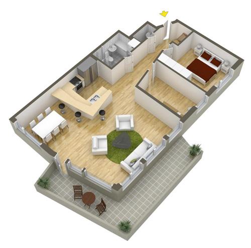 Các mẫu căn hộ nhỏ có 2 phòng ngủ - 10
