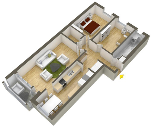 Các mẫu căn hộ nhỏ có 2 phòng ngủ - 11