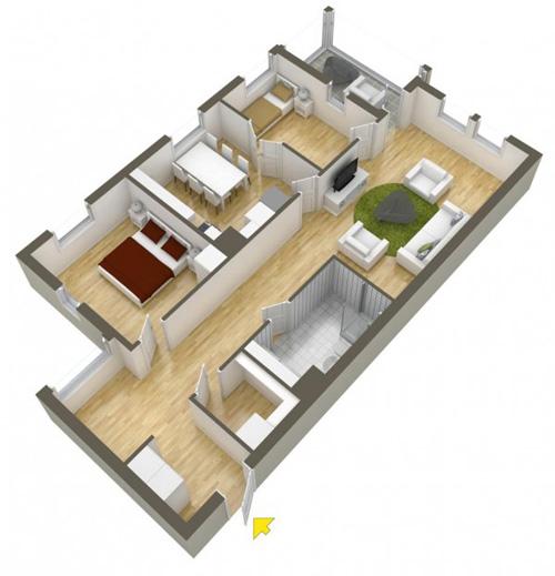 Các mẫu căn hộ nhỏ có 2 phòng ngủ - 12