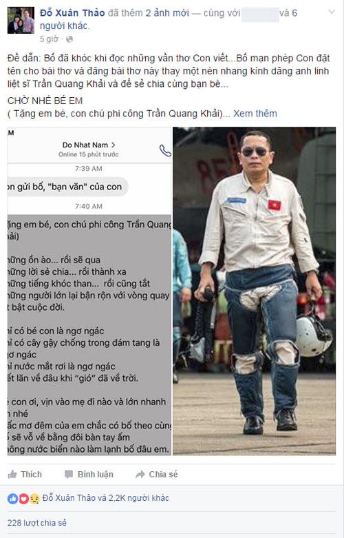 Bài thơ đỗ nhật nam gửi tặng con gái phi công trần quang khải làm ai cũng khóc - 1