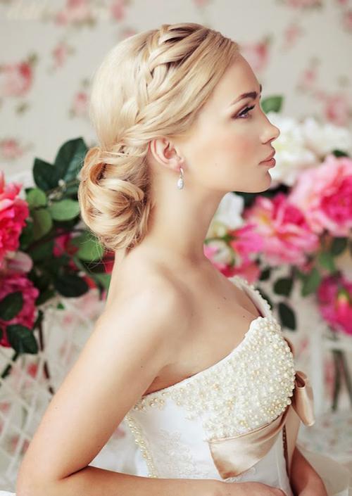 Tóc tết cô dâu đẹp dễ thương trong ngày cưới 2016 cho nàng mặt tròn - 3