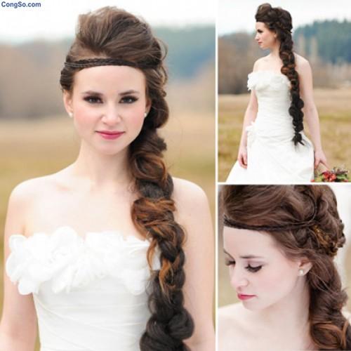 Tóc tết cô dâu đẹp dễ thương trong ngày cưới 2016 cho nàng mặt tròn - 4
