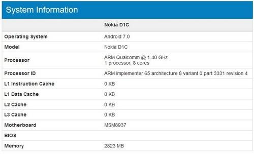lộ diện điện thoại nokia d1c chạy android 70 - 2