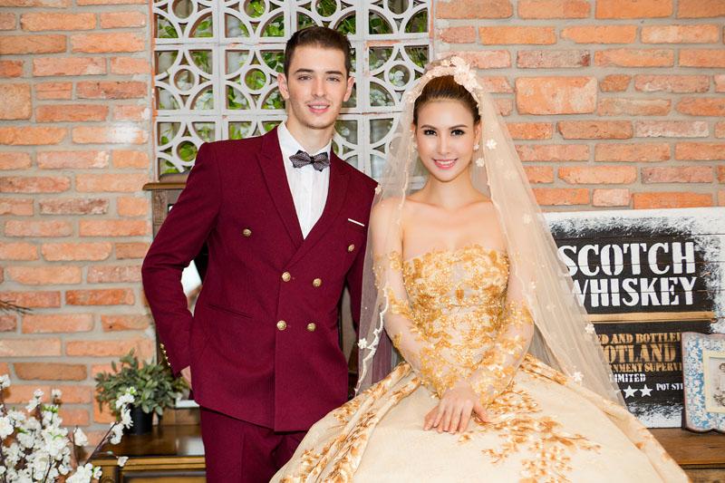 Á hậu thanh hoài thay 4 mẫu váy cưới bên mỹ nam ngoại quốc - 4