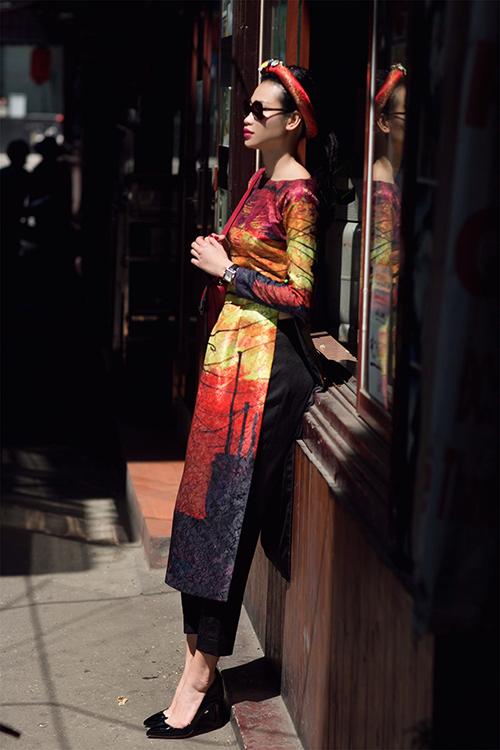Những cách mặc áo dài cách tân với quần âu đẹp ngất ngây - 9