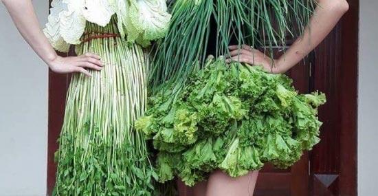Váy sexy từ xà lách cải thảo rau cần ở vĩnh phúc gây sốt mạng xã hội - 3